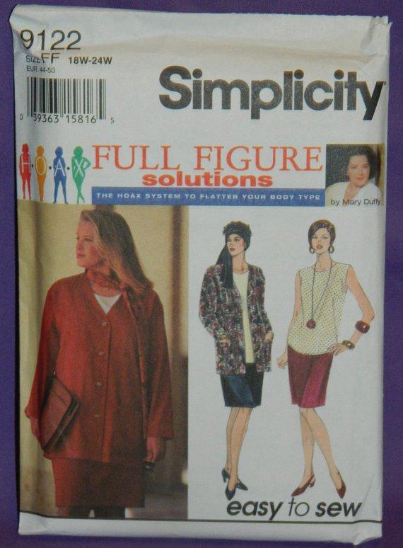 Simplicity Womens Plus Sz 26w-32 W Slim Skirt, Top, Jacket, Scarf Pattern 9122