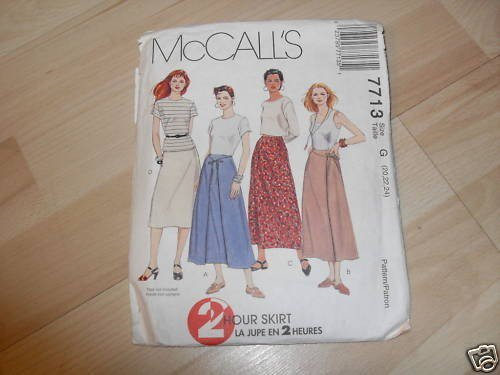 MCCALLS 2 HOUR SKIRT PATTERN 7713 G 20 22 24 LADIES