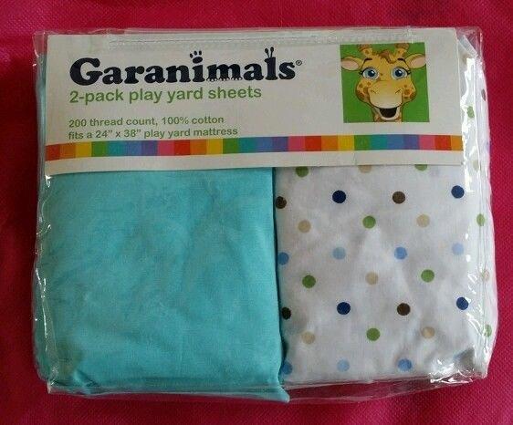 """**Garanimals 2 pack light Blue / dots Yard Sheets 24"""" x 38"""" 100% cotton"""