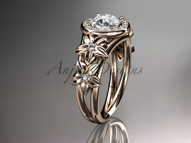14kt rose gold diamond floral wedding ring, engagement ring ADLR131
