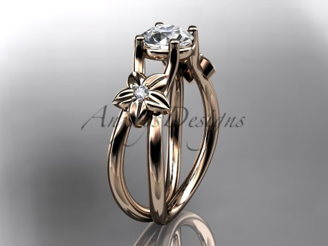 14kt rose gold diamond floral wedding ring, engagement ring ADLR130