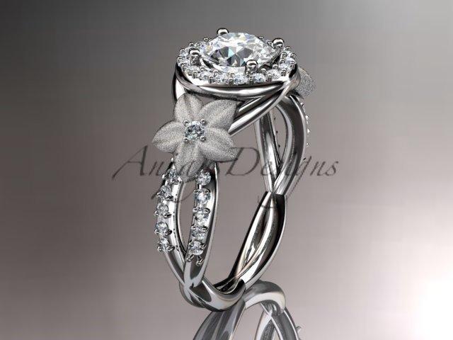 14kt white gold diamond leaf and vine wedding ring, engagement ring ADLR127