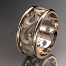 14kt rose gold leaf and vine wedding ring, engagement ring, wedding band ADLR121