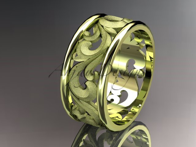 14kt yellow gold leaf and vine wedding ring, engagement ring, wedding band ADLR121