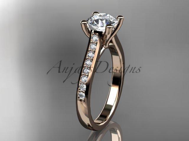 14kt rose gold diamond unique engagement ring, wedding ring ADER114