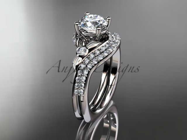 14kt white gold diamond leaf and vine engagement ring set with a Moissanite center stone ADLR112S