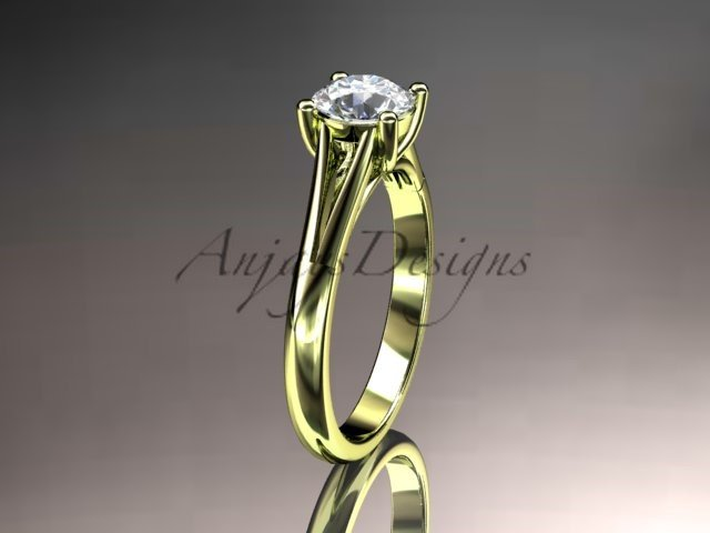 14kt yellow gold engagement, ring solitaire ring with a Moissanite center stone ADER109