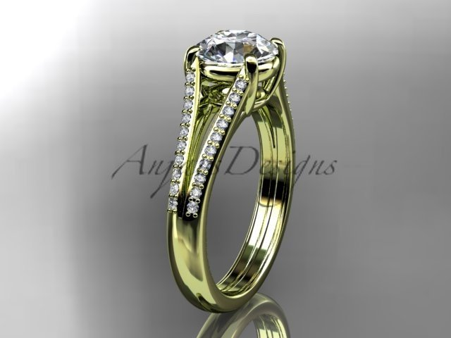 14kt yellow gold diamond unique engagement ring, wedding ring ADER108