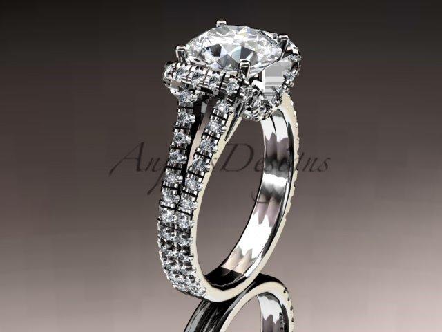 14kt white gold diamond unique engagement ring,wedding ring ADER107