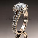 14kt rose gold diamond unique engagement ring, wedding ring with a Moissanite center stone ADER107