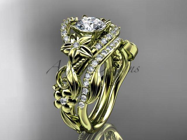 14kt yellow gold diamond unique flower, leaf and vine engagement set ADLR211