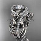 Platinum diamond unique flower, leaf and vine engagement ring set ADLR211S