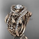 14kt rose gold diamond leaf and vine engagement ring with double matching band ADLR211
