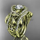 14kt yellow gold diamond leaf and vine engagement ring with double matching band ADLR211