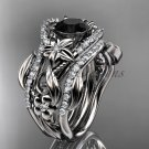 14kt white gold engagement ring with Black Diamond center stone and double matching band ADLR211