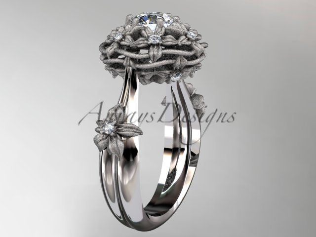 "14kt white gold diamond ""Basket of Love\"" ring with a Moissanite center stone ADLR94"