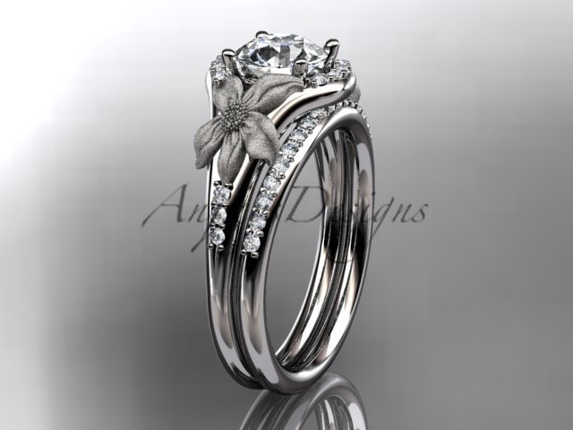 14kt white gold diamond leaf and vine wedding ring, engagement set ADLR91 nature inspired jewelry