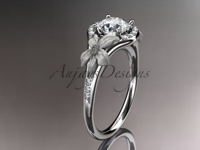 14kt white gold diamond wedding ring, engagement ring with a Moissanite center stone ADLR91