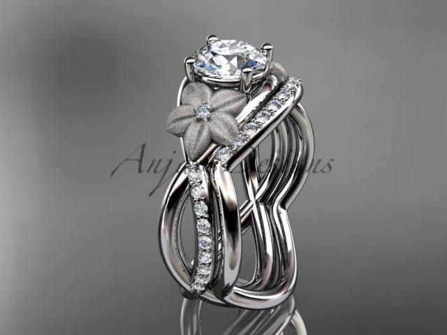 14k white gold diamond leaf and vine wedding ring, engagement set ADLR90