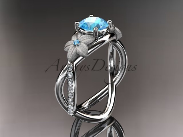 14kt white gold diamond birthstone ring ADLR90 Blue Topaz - December\'s Birthstone