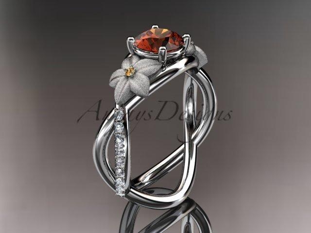 14kt white gold diamond leaf and vine birthstone ring ADLR90 Rhodolite Garnet - June\'s Birthstone