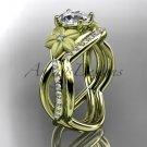 14kt yellow gold diamond leaf and vine wedding ring, engagement set ADLR90
