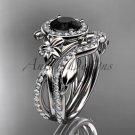 14kt white gold diamond engagement set, wedding set, with a Black Diamond center stone ADLR89S