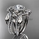 14kt white gold engagement ring, with Moissanite center stone and double matching band ADLR89S