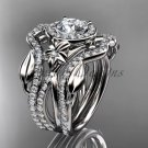Platinum diamond engagement ring, with Moissanite center stone and double matching band ADLR89S