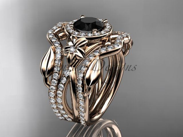 14kt rose gold engagement ring, with Black Diamond center stone and double matching band ADLR89S