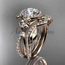 14kt rose gold diamond flower engagement set, wedding set, with a Moissanite center stone ADLR89S