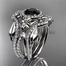 Platinum engagement ring with a Black Diamond center stone and double matching band ADLR89S