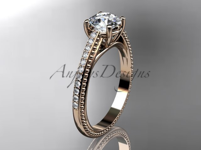 14kt rose gold diamond unique engagement ring, wedding ring ADER87