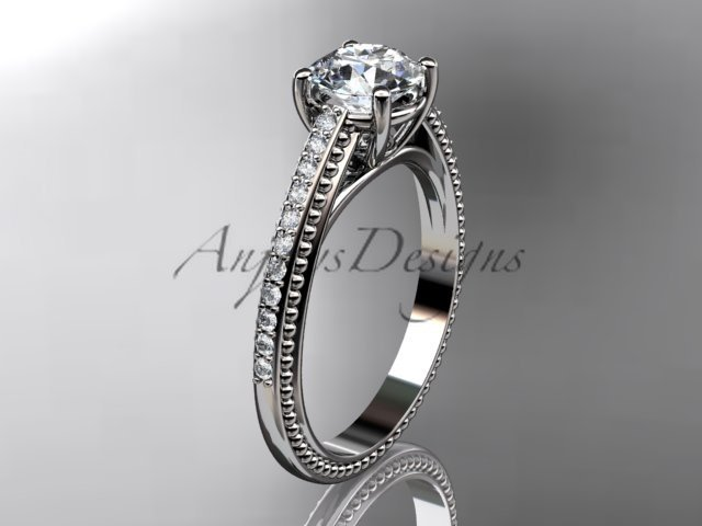 Platinum diamond unique engagement ring, wedding ring ADER87