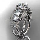 14kt white gold diamond floral wedding ring, engagement ring with Moissanite center stone ADLR69