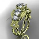 14kt yellow gold diamond floral wedding ring, engagement ring with Moissanite center stone ADLR69