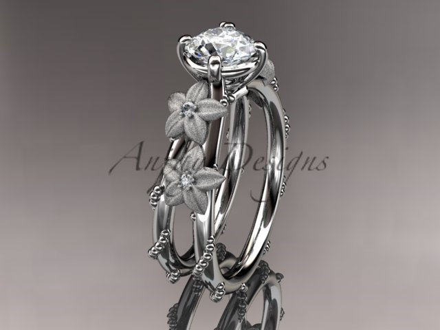 14kt white gold wedding ring, engagement ring with Moissanite center stone ADLR66