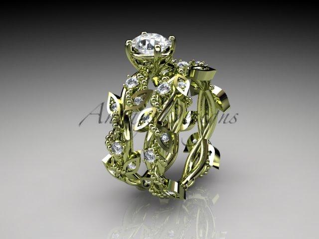 14k yellow gold diamond leaf and vine wedding ring, engagement set ADLR59S