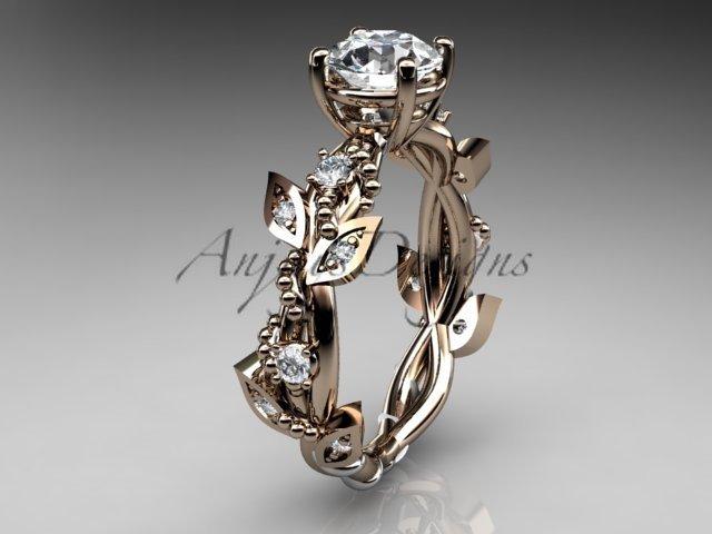 14kt rose gold diamond leaf and vine wedding ring,engagement ring ADLR59