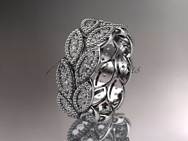 14kt white gold diamond wedding ring, engagement ring, wedding band. nature inspired jewelry ADLR54