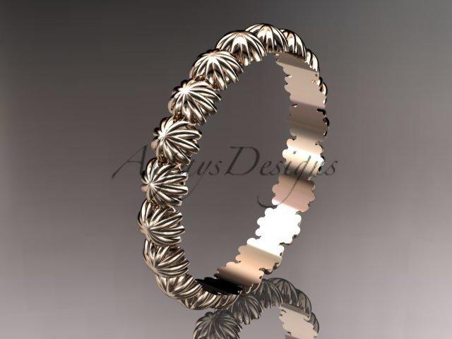 14k rose gold diamond flower wedding ring, engagement ring, wedding band ADLR42