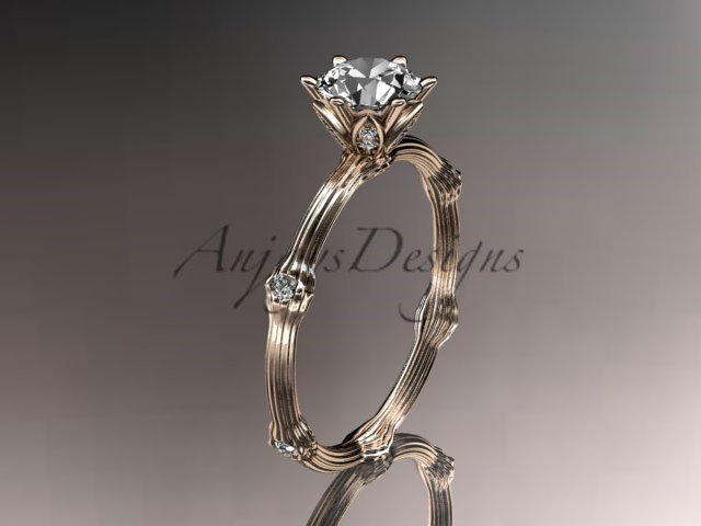 14k rose gold diamond vine and leaf wedding ring, engagement ring ADLR38