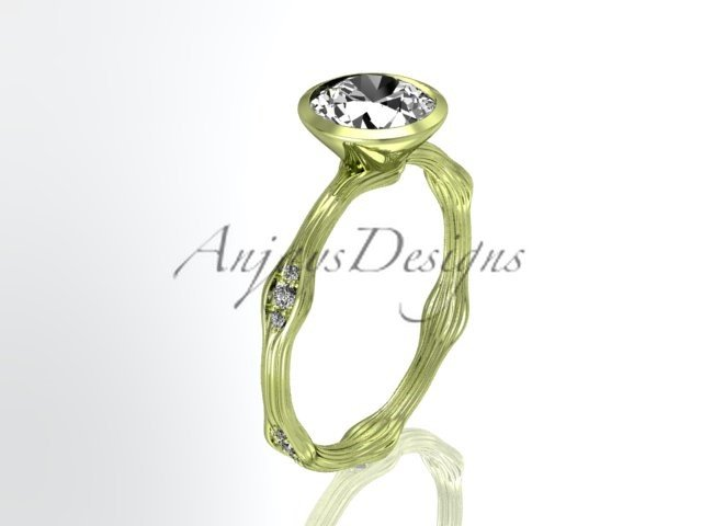14k yellow gold diamond vine wedding ring, engagement ring ADLR21A