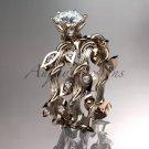 "14k white gold diamond engagement set with a ""Forever One"" Moissanite center stone ADLR20"