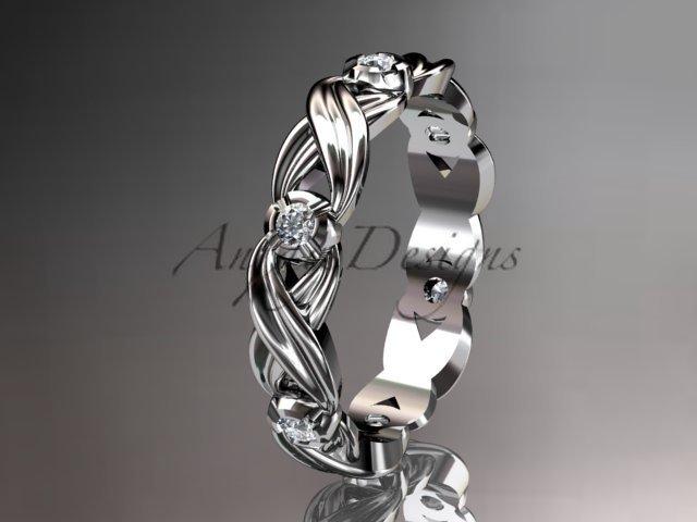 14kt white gold diamond wedding ring, engagement ring, wedding band.ADLR19. nature inspired jewelry