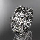 14k white gold diamond leaf and vine wedding ring,engagement ring ADLR10