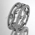 14k white gold diamond leaf and vine wedding ring, engagement ring ADLR7