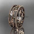14k rose gold diamond leaf and vine wedding ring,engagement ring ADLR7
