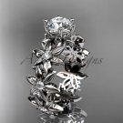 Unique 14k white gold diamond floral engagement ring ADLR339