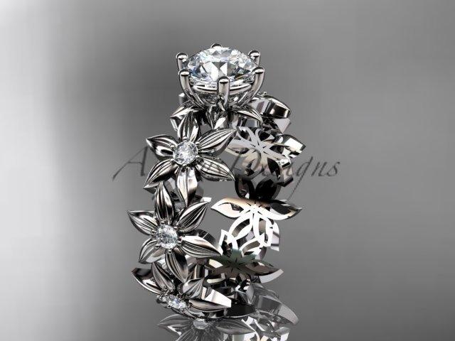 14k white gold diamond floral engagement ring Moissanite ADLR339